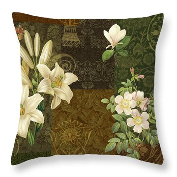 Flower Patchwork 2 Throw Pillow by JQ Licensing