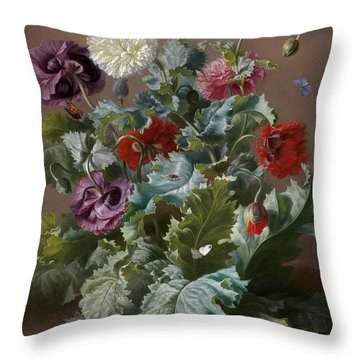 Flower Piece With Poppies And Butterflies Throw Pillow by Celestial Images