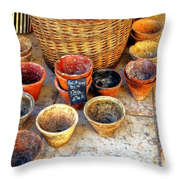 Throw Pillow featuring the photograph Flower Pots In Provence by Olivier Le Queinec
