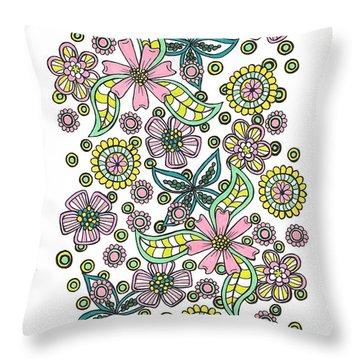 Flower Power 5 Throw Pillow
