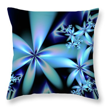 Flower Power Blue Throw Pillow