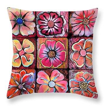 Flower Power Montage Throw Pillow