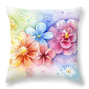 Flower Power Watercolor Throw Pillow