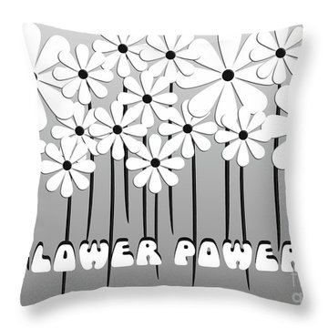 Flower Power - White  Throw Pillow