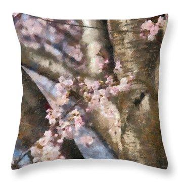 Flower - Sakura - Spring Blossom Throw Pillow by Mike Savad
