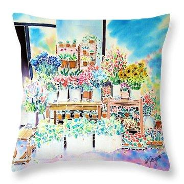 Flower Shop In Paris Throw Pillow