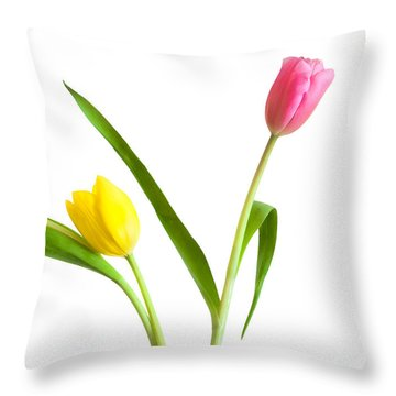 Throw Pillow featuring the photograph Flower Shop Wall Art - Colorful Tulips by Ram Vasudev