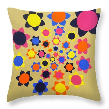 Flower Shower Throw Pillow by Oliver Johnston