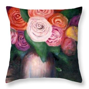 Flower Spirals Throw Pillow