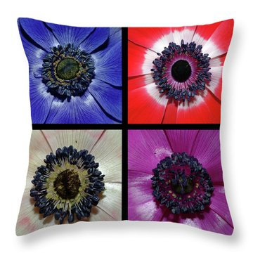 Flower Square Montage - Anemone Throw Pillow