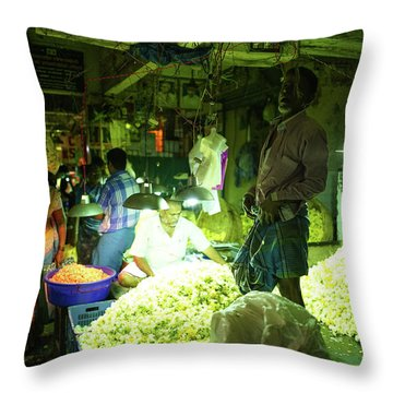 Throw Pillow featuring the photograph Flower Stalls Market Chennai India by Mike Reid