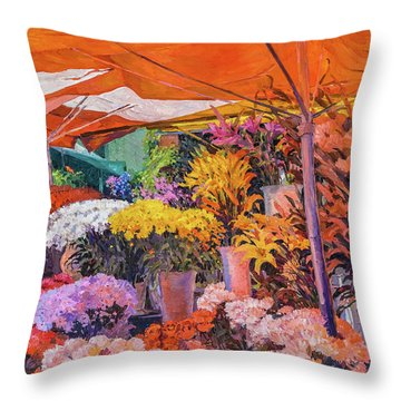 Flower Stand Throw Pillow