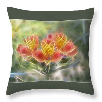 Flower Streaks Throw Pillow