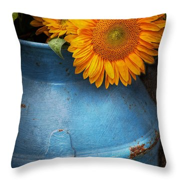 Flower - Sunflower - Little Blue Sunshine  Throw Pillow by Mike Savad