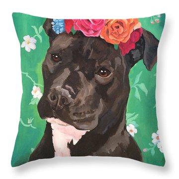 Flower The Pitbull Throw Pillow by Elisa Bolanos