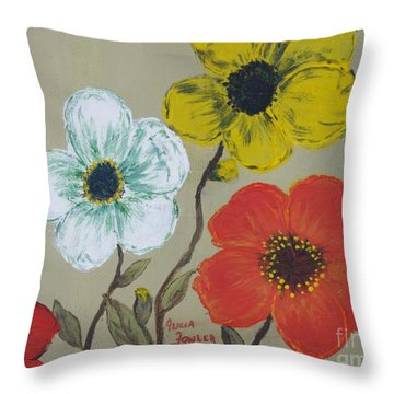 Flower Trio Throw Pillow