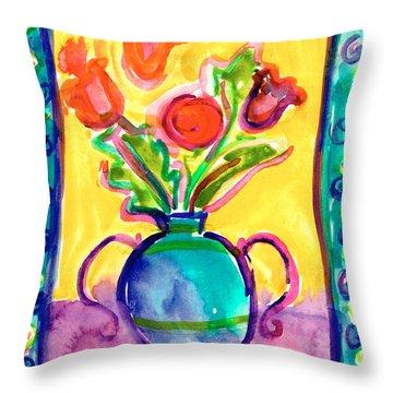 Flower Vase Throw Pillow