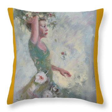 Throw Pillow featuring the painting Flower Vender by Gertrude Palmer