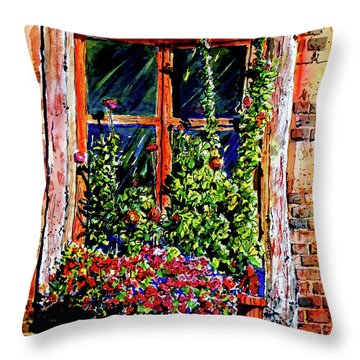 Flower Window Throw Pillow by Terry Banderas