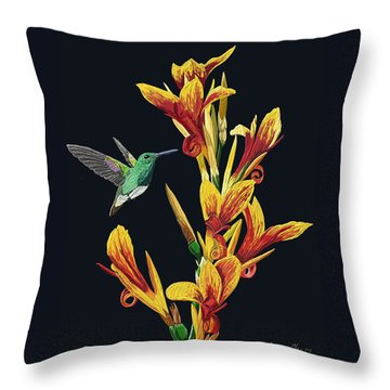 Flower With Bird Throw Pillow