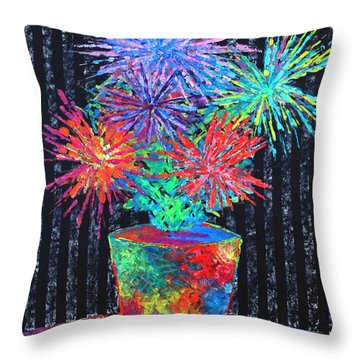Flower-works Plant Throw Pillow by Jeremy Aiyadurai