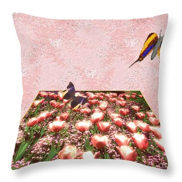 Flowerbed Of Tulips Throw Pillow