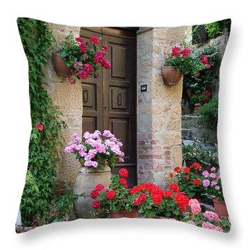 Flowered Montechiello Door Throw Pillow