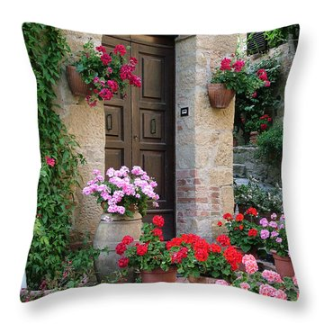 Flowered Montechiello Door Throw Pillow