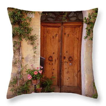 Flowered Tuscan Door Throw Pillow
