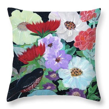 Throw Pillow featuring the painting Floweret by Robin Maria Pedrero