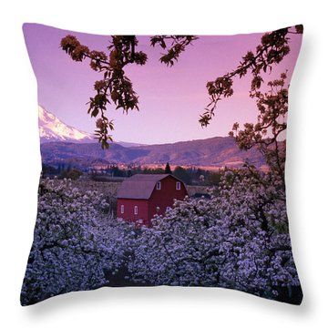 Flowering Apple Trees, Distant Barn Throw Pillow