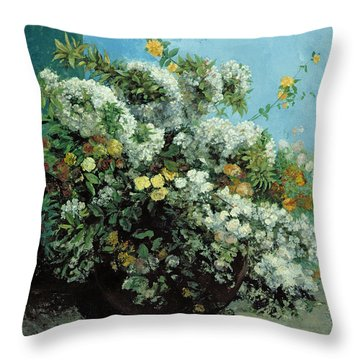 Flowering Branches And Flowers Throw Pillow by Gustave Courbet