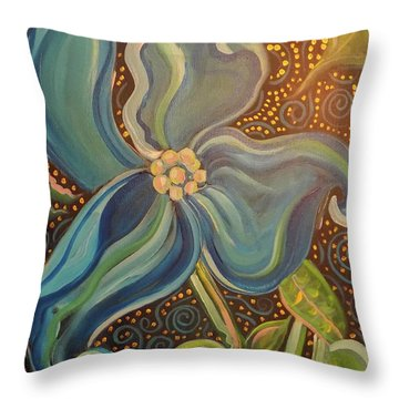 Throw Pillow featuring the painting Flowering Dogwood by John Keaton