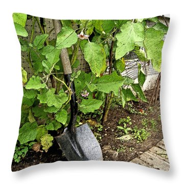 Flowering Eggplant W Shovel Throw Pillow