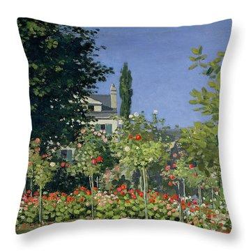 Flowering Garden At Sainte-adresse Throw Pillow by Claude Monet