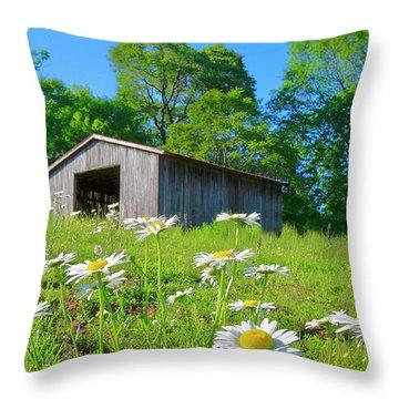 Flowering Hillside Meadow Throw Pillow