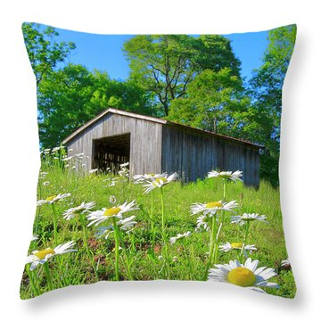Flowering Hillside Meadow Throw Pillow
