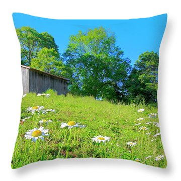 Flowering Hillside Meadow - View 2 Throw Pillow