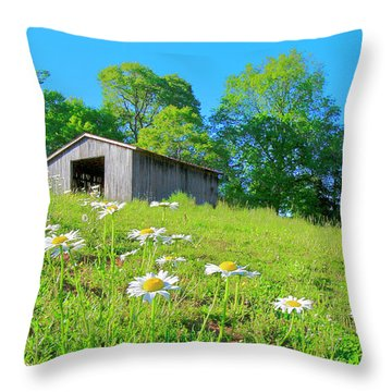 Flowering Hillside Meadow - View 2 Throw Pillow