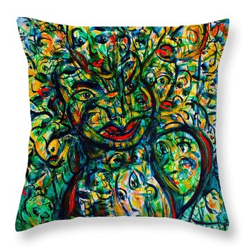 Flowering Humans Throw Pillow by Natalie Holland