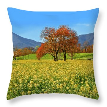 Flowering Meadow, Peaks Of Otter,  Virginia. Throw Pillow