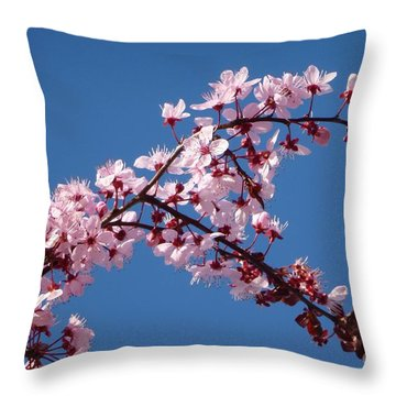 Flowering Of The Plum Tree 4 Throw Pillow by Jean Bernard Roussilhe