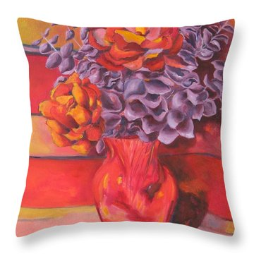 Flowering Orange Throw Pillow by Lisa Boyd