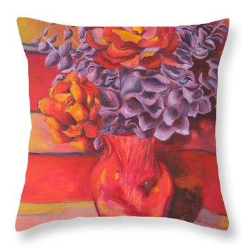 Flowering Orange Throw Pillow by Lisa Boyd