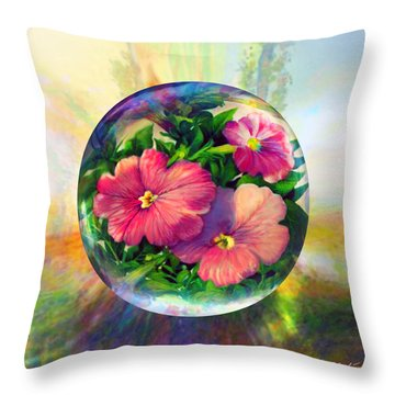 Throw Pillow featuring the painting Flowering Panopticon by Robin Moline