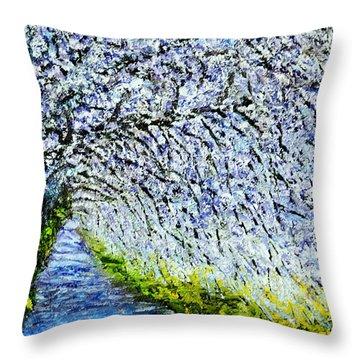 Flowering Tree Lane Throw Pillow