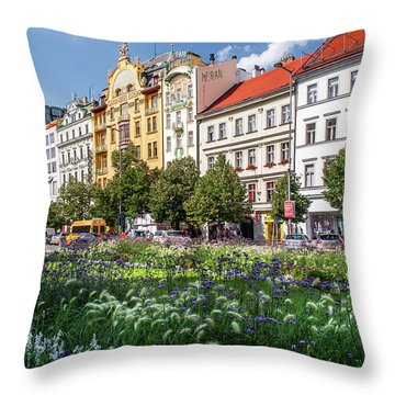 Throw Pillow featuring the photograph Flowering Wenceslas Square In Prague by Jenny Rainbow