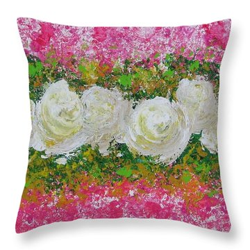 Flowerline In Pink And White Throw Pillow
