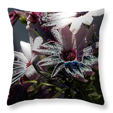 Throw Pillow featuring the digital art Flowers by Stuart Turnbull