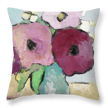 Flowers 1601 Throw Pillow by Becky Kim